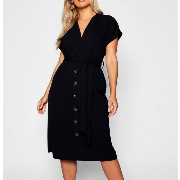 026a82c1a9a2 Boohoo Plus Dresses   Belted Button Down Midi Dress   Poshmark